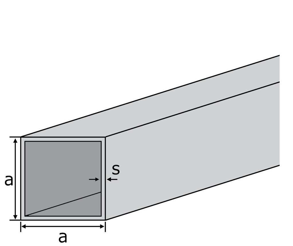 Aluminium Quadratrohr Aluprofil Vierkantrohr ALMgSi0,5 F 22 Oberfl/äche blank gezogen Abmessungen 15x15x2 mm L/änge 2000 mm
